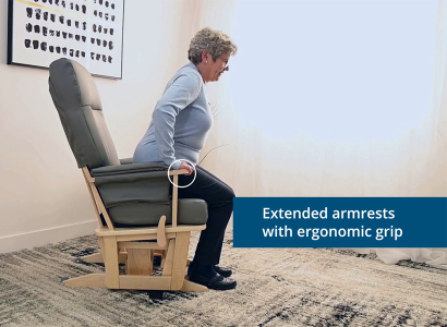 Extended armrests with ergonomic grip