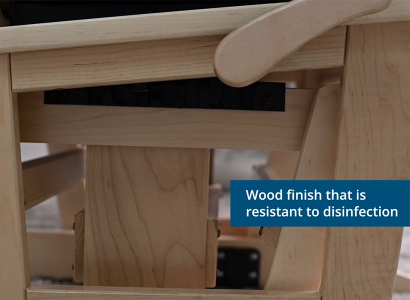 Wood finish that is resistant to desinfection