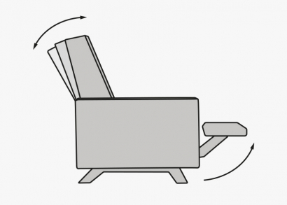 reclining backrest and integrated footrest